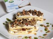 Lasagnette polenta formaggio fresco spalmabile arla, funghi noci