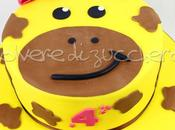 Torta decorata pasta zucchero faccia della Giraffa compleanno bimba