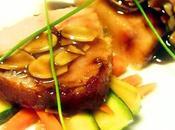 Pesce spada glassato miele zagara arancio, verdure agrodolce