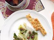 Scarola padella olive, acciughe quenelle ricotta