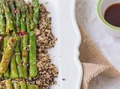 Insalata quinoa asparagi alla piastra salsa ostriche