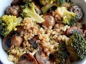 Insalata quinoa, bulgur, broccoli funghi