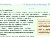 """Comma """"Wikipedia Italia autocensura...e rischia grosso""""."""