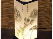 Lampada tavolo paralume carta dipinto scene rurali